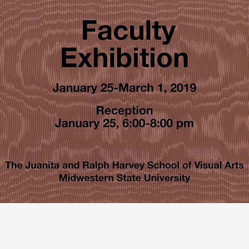 The front of a faculty created postcard announcing the spring 2019 faculty exhibition.