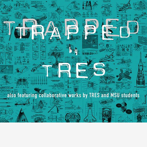 Graphic announcing the graphic design group, Tres Collective, exhibition during Spring 2020 at Midwestern State University.