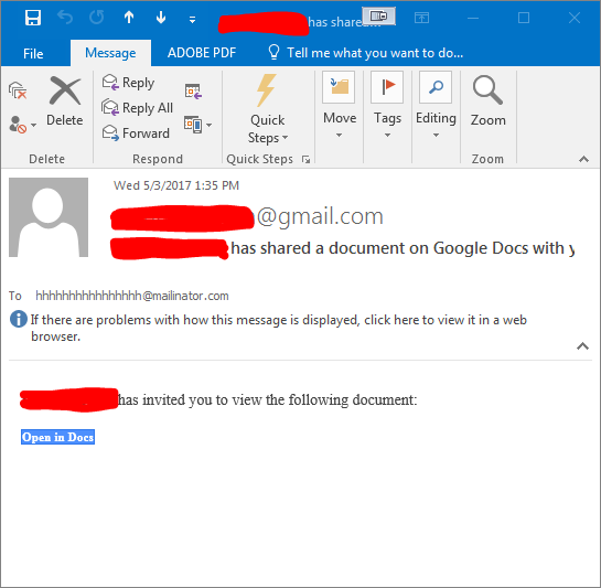 This is an email from a known sender, that shows in the recipient's inbox as being sent to an unknown sender.