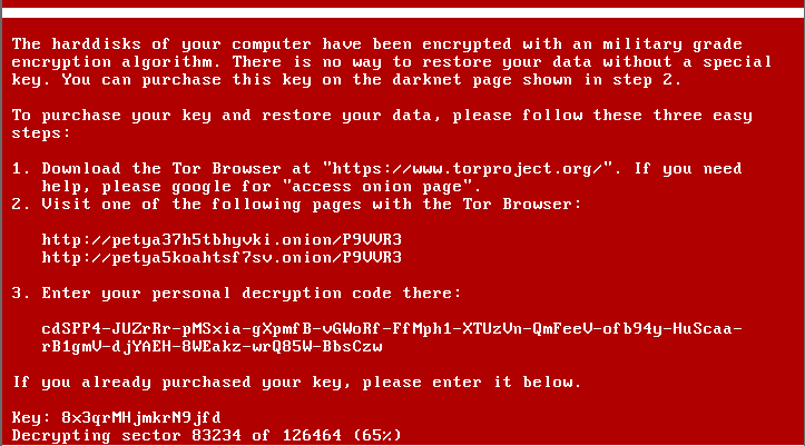 This prompt has a solid background and screen text that resembles the boot menu that shows when a computer starts up. It tells the user that their harddisks have been encrypted and that they can purchase a key to restore their data.