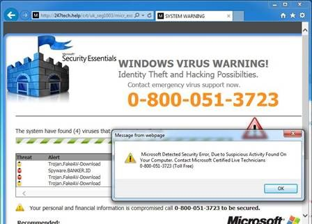 "This looks like an error window from Microsoft and says ""Windows Virus Warning! Identity Theft and Hacking Possibilities. Contact Microsoft Certified Live Technicians."""